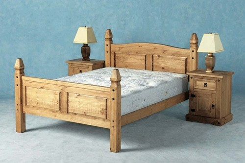 Corona Mexican Pine Queen Bed Sturdy Simply Carved Boards