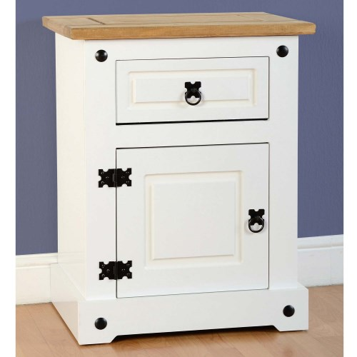 Corona White Painted 1 Door Bedside Cabinet Cp Furniture