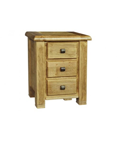 York 3 drawer night table weathered solid oak locker