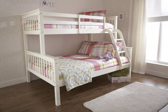 Salix Wooden Triple Bunkbed Solid Panelled Colour Choice Cp
